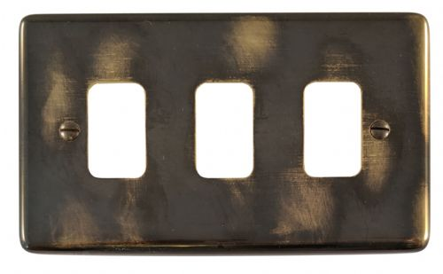 G&H CAN93 Standard Plate Polished Aged Brass 3 Gang MK Compatible Grid Plate